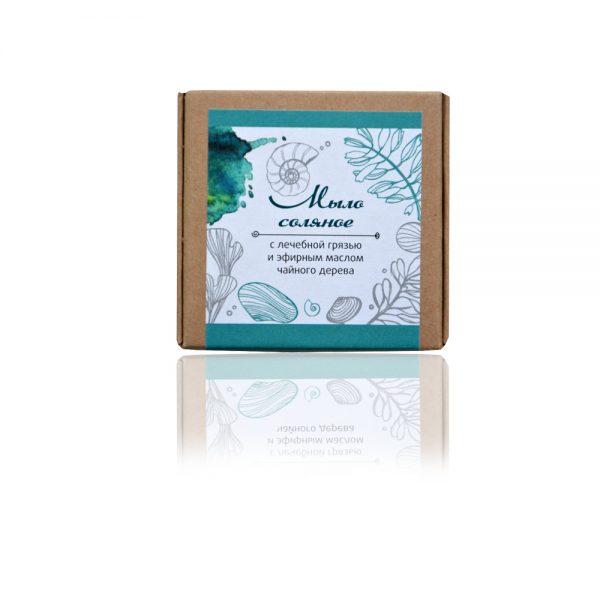 Натурален солен сапун с лечеба кал и чаено дърво - 80гр