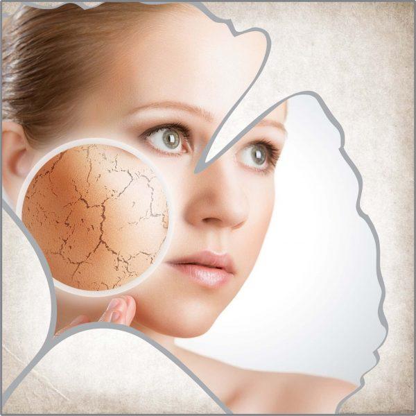 При суха и дехидратирана кожа на лицето, хидратираща маска за лице, дневен и нощен крем за лице, почистващо средство за дехидратирана кожа на лицето.